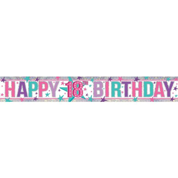 Holographic Pink Happy 18th Birthday Foil Banner
